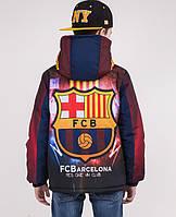 Куртка подросток весна-осень с принтом FC Barcelona, р 152,158,164,170
