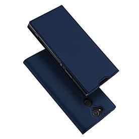Чехол книжка для Sony Xperia XA2 H3113 боковой с отсеком для визиток, Dux Ducis, Темно-синий