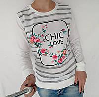 "Свитшот женский молодежный ""Chic love"" - белый, фото 1"