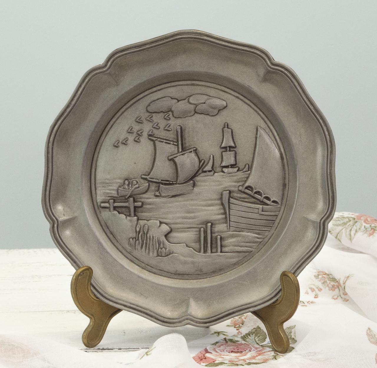 Настенная оловянная тарелка, пищевое олово, Германия, Корабль