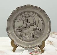 Настенная оловянная тарелка, пищевое олово, Германия, Корабль, фото 1