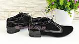 Туфли женские закрытые замшевые на шнуровке с вставками из лаковой кожи, фото 3