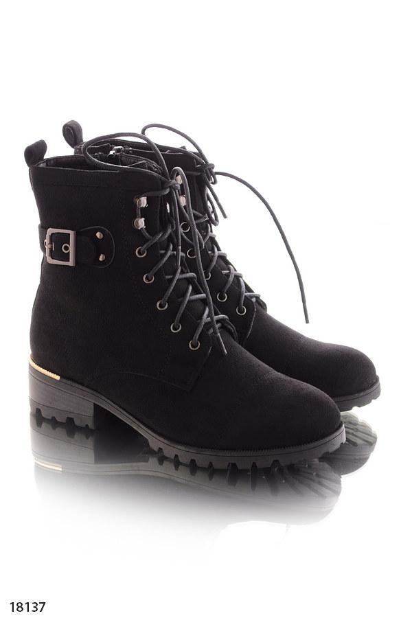 Женские ботинки черные на шнуровке эко замш весна-осень - интернет-магазин