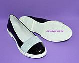 Женские лаковые черные туфли на утолщенной белой подошве, фото 2