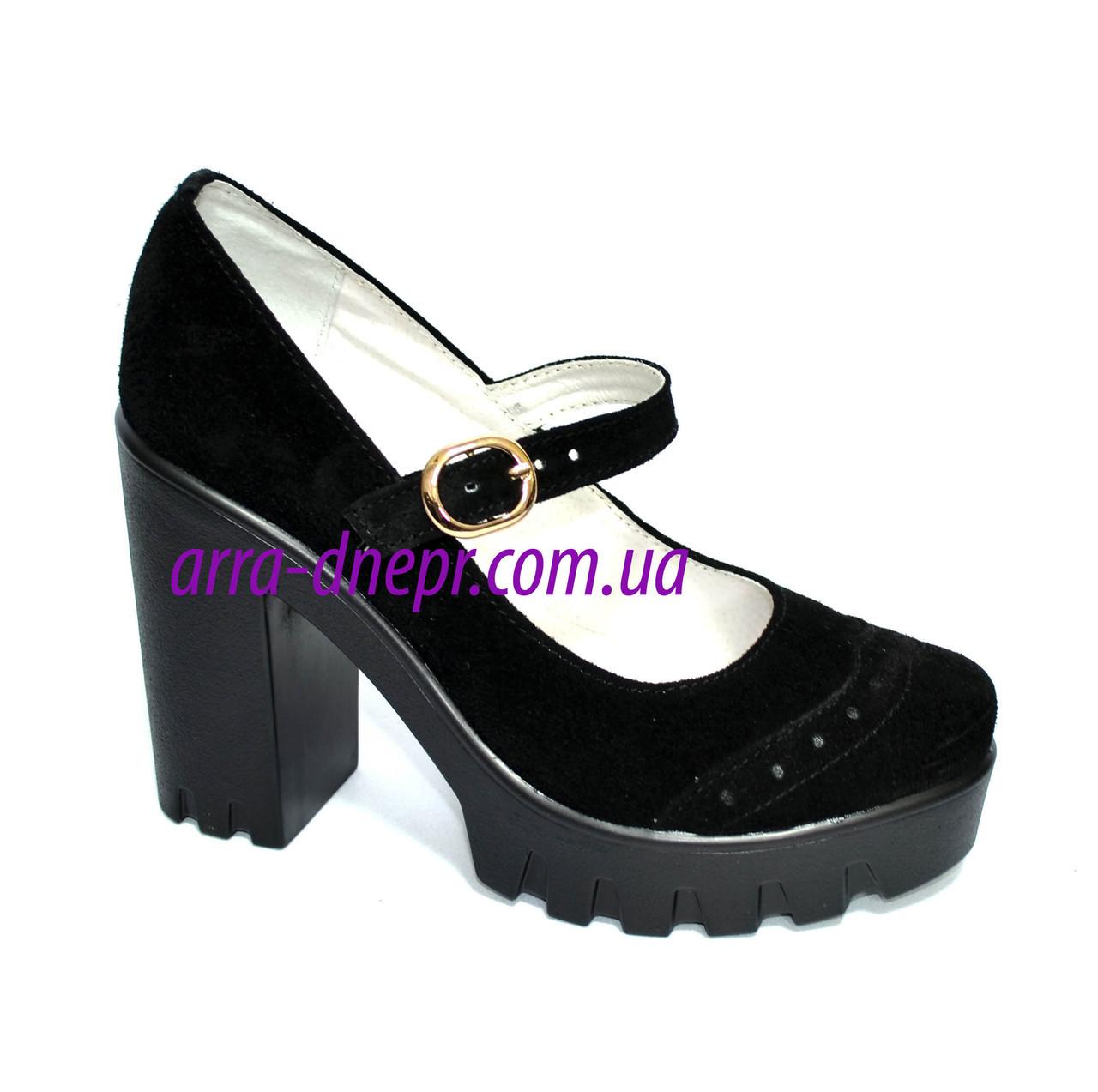 Женские замшевые туфли на тракторной подошве