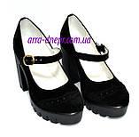 Женские замшевые туфли на тракторной подошве, фото 2