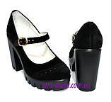 Женские замшевые туфли на тракторной подошве, фото 3