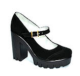 Женские замшевые туфли на тракторной подошве, фото 4