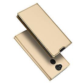 Чехол книжка для Sony Xperia XA2 H3113 боковой с отсеком для визиток, Dux Ducis, золотистый