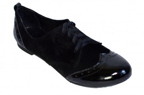 Туфли женские закрытые на шнуровке, натуральный замш и лаковая кожа.