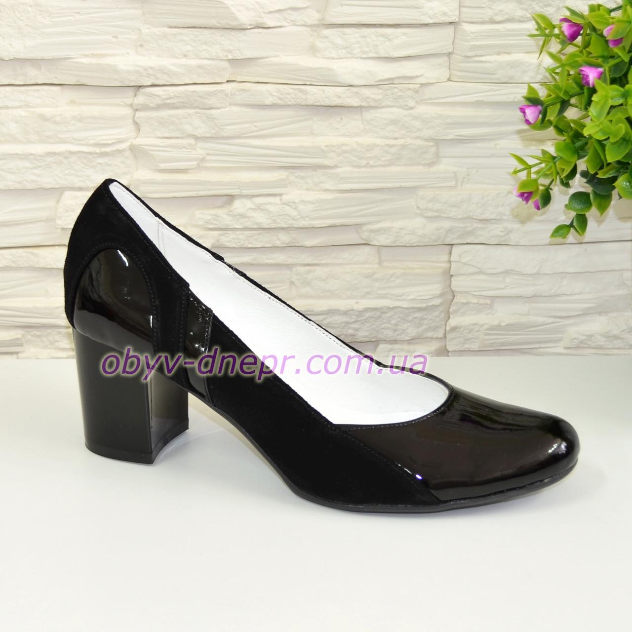 Женские классические туфли на каблуке из натуральной лаковой кожи и замши