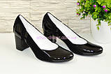 Женские классические туфли на каблуке из натуральной лаковой кожи и замши, фото 2