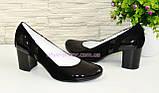 Женские классические туфли на каблуке из натуральной лаковой кожи и замши, фото 3