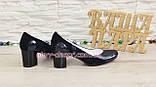 Женские классические синие туфли на каблуке из натуральной лаковой кожи и замши, фото 4