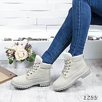 Женские зимние ботинки эко-замш под нубук