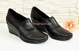Туфли кожаные женские на невысокой устойчивой танкетке, фото 2