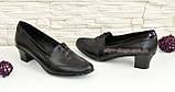 Женские кожаные туфли на невысоком каблуке, декорированы шнуровкой., фото 3