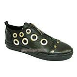 Женские кожаные туфли на утолщенной подошве, декорированы люверсами. , фото 2