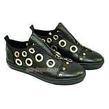 Женские кожаные туфли на утолщенной подошве, декорированы люверсами. , фото 3
