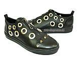 Женские кожаные туфли на утолщенной подошве, декорированы люверсами. , фото 4