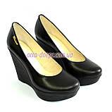 Кожаные женские туфли на устойчивой высокой платформе, фото 6