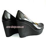 Кожаные женские туфли на устойчивой высокой платформе, фото 7