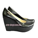 Кожаные женские туфли на устойчивой высокой платформе, фото 8
