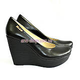 Кожаные женские туфли на устойчивой высокой платформе, фото 9