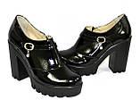 Женские туфли на тракторной подошве, натуральная лаковая кожа., фото 5