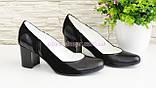 Женские классические туфли на каблуке из натуральной кожи и замши, фото 6