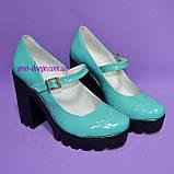 Женские туфли на тракторной подошве, натуральная лаковая кожа, цвет бирюза, фото 2