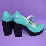 Женские туфли на тракторной подошве, натуральная лаковая кожа, цвет бирюза, фото 3