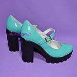 Женские туфли на тракторной подошве, натуральная лаковая кожа, цвет бирюза, фото 4