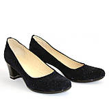 Туфли женские на каблуке, декорированные камнями, натуральный замш синего цвета, фото 4