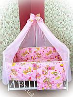 Комплект детского постельного белья 9 в 1 TM Bonna Мишка с шарами ярко-розового цвета