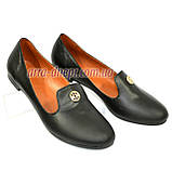Женские черные кожаные туфли-балетки, декорированы фурнитурой., фото 2