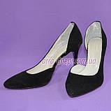 Туфли женские на шпильке, черный замш, фото 3