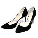 Туфли женские на шпильке, черный замш, фото 7