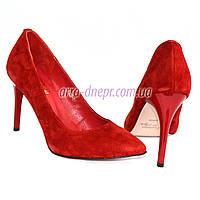 Туфли женские на шпильке, красный замш, фото 1