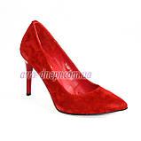 Туфли женские на шпильке, красный замш, фото 2