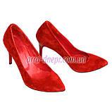 Туфли женские на шпильке, красный замш, фото 3