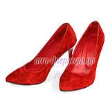 Туфли женские на шпильке, красный замш, фото 4