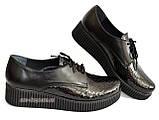 Женские туфли на утолщенной подошве, на шнуровке, натуральная кожа и лак питон., фото 5