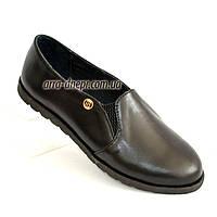 Женские черные кожаные туфли, декорированы фурнитурой., фото 1