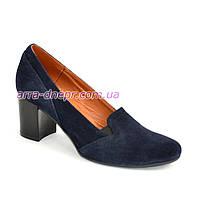Замшевые синие женские туфли на невысоком каблуке, фото 1