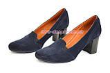 Замшевые синие женские туфли на невысоком каблуке, фото 3