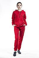 Костюм спортивный женский флис красный замок капюшон