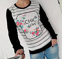 """Стильный женский свитшот """"Chic love"""" - черный, фото 1"""