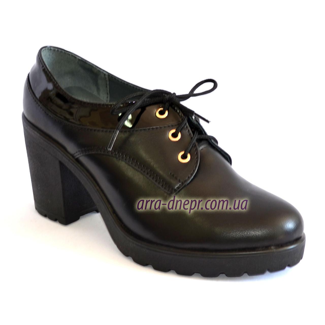 Женские кожаные туфли на шнуровке, устойчивый каблук