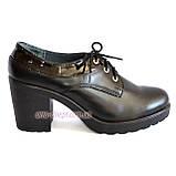 Женские кожаные туфли на шнуровке, устойчивый каблук, фото 2